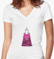 The Katy Bag / Black & Fuchsia Fantasy Zebra Women's Fitted V-Neck T-Shirt