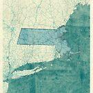 Massachusetts Map Blue Vintage by HubertRoguski
