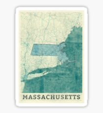 Massachusetts Map Blue Vintage Sticker