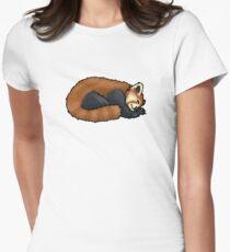 Red Panda sleeping Women's Fitted T-Shirt