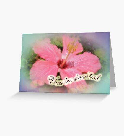 Party Invitation - Pink Hibiscus Greeting Card