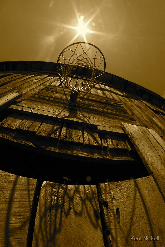 Basketball Goal Over Barn Door by Kent Nickell