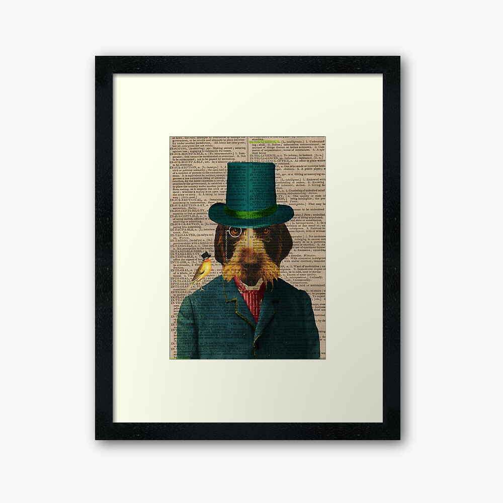 Antique Dictionary Page Wirehaired Griffon Framed Art Print