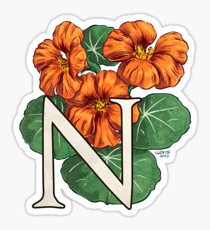 N is for Nasturtium card Sticker