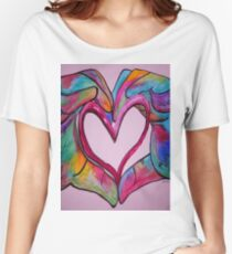 Universal Sign for Love - You Hold my Heart in Your Hand Women's Relaxed Fit T-Shirt
