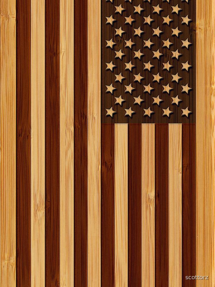 Bamboo Look & Engraved Vintage Bandera estadounidense de Estados Unidos de scottorz