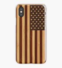 Bamboo Look & Engraved Vintage American USA Flag iPhone Case
