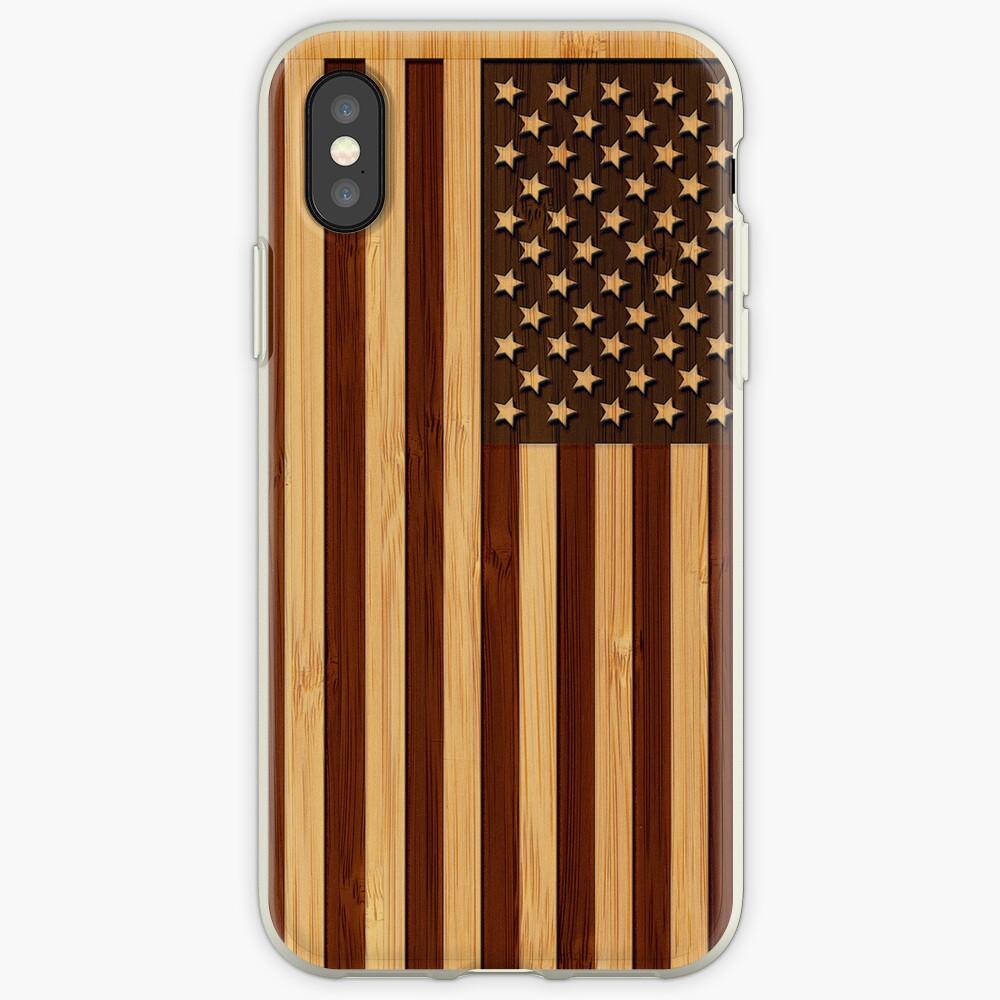 Bamboo Look & Engraved Vintage Bandera estadounidense de Estados Unidos Vinilos y fundas para iPhone
