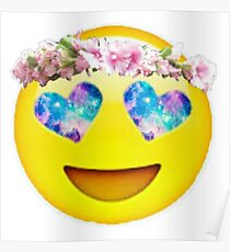 Flower Crown Galaxy Eyes Emoji Poster