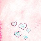 Blue - red hearts on pink - white snow by CatchyLittleArt