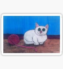 Cat and Yarn Sticker