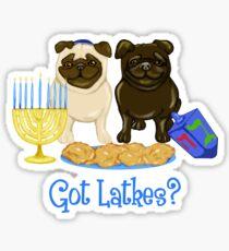 Got Latkes Hanukkah Pug Sticker
