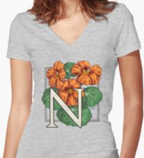 N is for Nasturtium Women's Fitted V-Neck T-Shirt