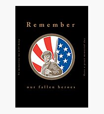 Memorial Day Greeting Card American WWII Soldier Flag Photographic Print