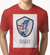 Memorial Day Greeting Card American Soldier Waving USA Flag Tri-blend T-Shirt