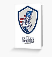 Memorial Day Greeting Card American Soldier Waving USA Flag Greeting Card
