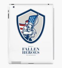 Memorial Day Greeting Card American Soldier Waving USA Flag iPad Case/Skin