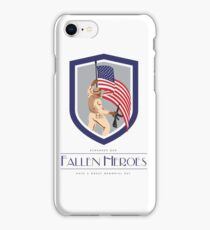 Memorial Day Greeting Card Soldier Military Holding Flag Rifle iPhone Case/Skin