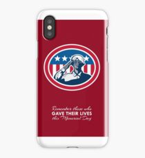 Memorial Day Greeting Card African American Soldier Salute Flag iPhone Case