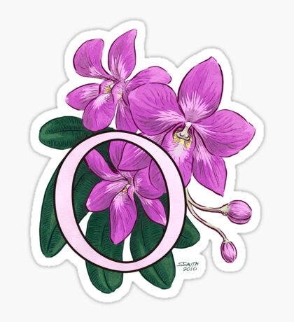 O is for Orchid card Sticker