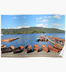Rowing Boats on Lake Windermere Poster