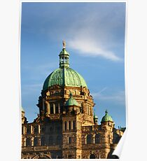 Green Domes and Details on Victoria Parliament Poster