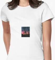 Rural sunset with trees Women's Fitted T-Shirt