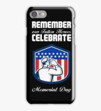 Memorial Day Greeting Card American Soldier Saluting Flag iPhone Case/Skin