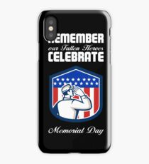 Memorial Day Greeting Card American Soldier Saluting Flag iPhone Case