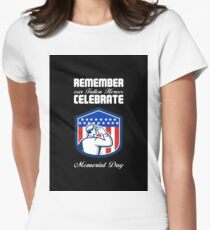 Memorial Day Greeting Card American Soldier Saluting Flag Women's Fitted T-Shirt