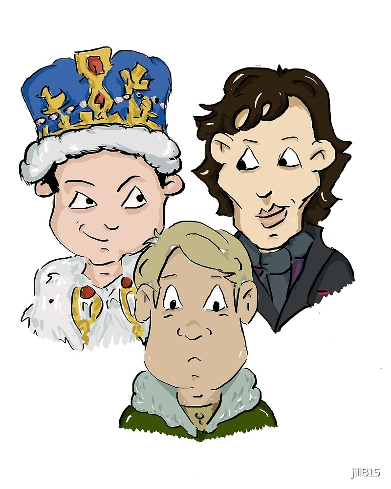 Sherlock Character Moriarty John Watson and Sherock Cartoon by jill815