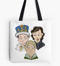 Sherlock Character Moriarty John Watson and Sherock Cartoon Tote Bag