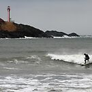 Cape Forchu Surfer by Debbie  Roberts