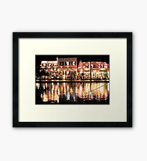Hoi An, Vietnam, river and restaurants in soft tones Framed Print