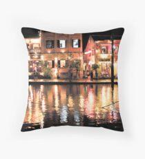 Hoi An, Vietnam, river and restaurants in soft tones Throw Pillow