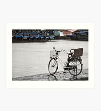 Hoi An bicycle in rain Art Print