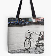 Hoi An bicycle in rain Tote Bag