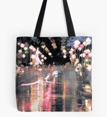Hoi An lanterns and reflections on bridge Tote Bag