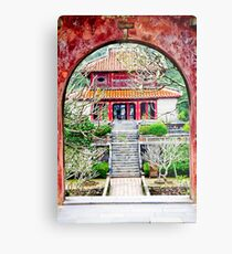 Temple through archway in Hue Metal Print