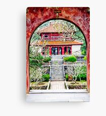Temple through archway in Hue Canvas Print