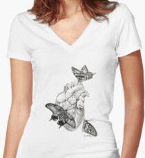 Heart Flutter Women's Fitted V-Neck T-Shirt