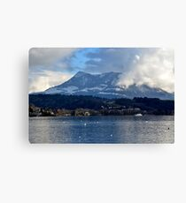 Lake of the Four Forested Cantons and Mountain Pilatus at Lucerne Canvas Print