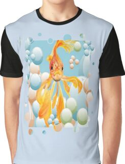 Blowing Bubbles With A Cute Fantail Goldfish Graphic T-Shirt
