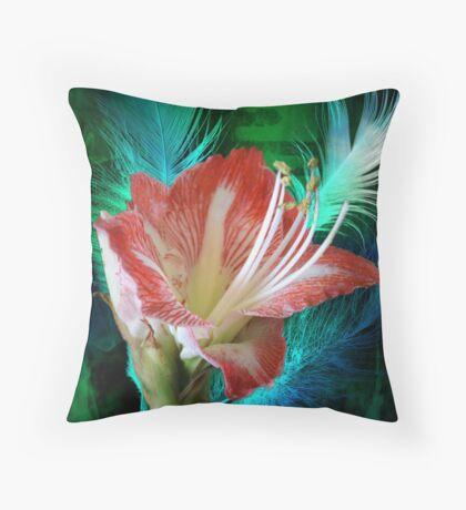 Feathered Amaryllis Throw Pillow