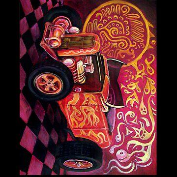 Quetzacoatl's Funny Car Ipad case by rawjawbone