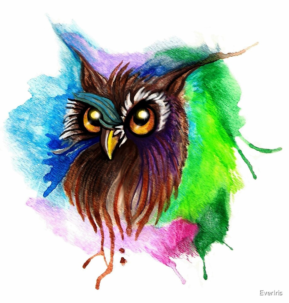 Watery Owl Painting by EverIris