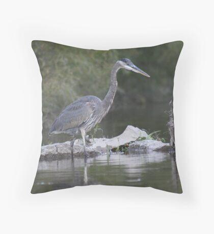 Great Blue Heron on Milwaukee River Throw Pillow