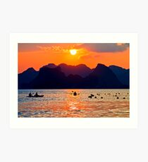 Halong Bay kayaks and sunset Art Print