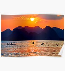 Halong Bay kayaks and sunset Poster