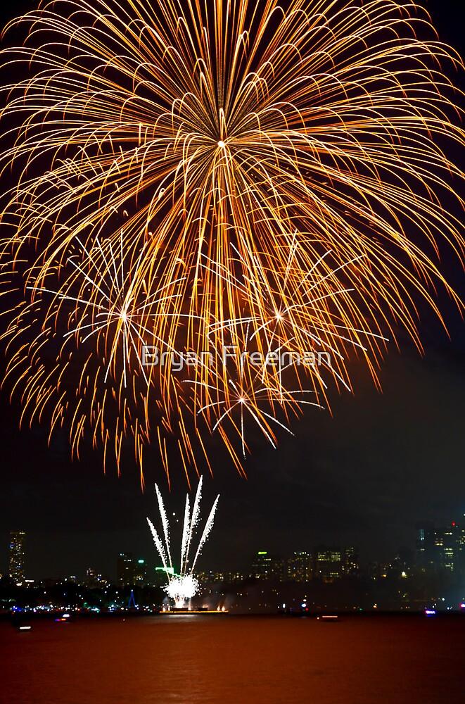 Fantastic Orange Supernova   New Years Eve   Sydney Harbour by Bryan Freeman